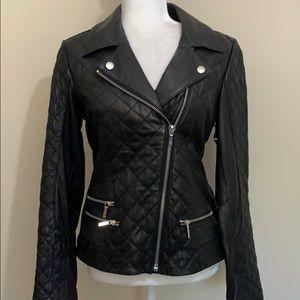 Laundry by Shelli Segal Black Leather Moto Jacket